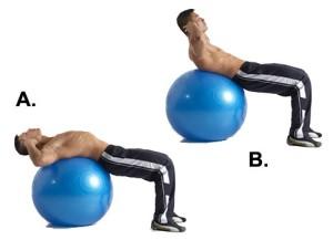 Excercise ball crunch
